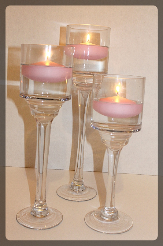 Monet Candleholder set of 3 with blush candles