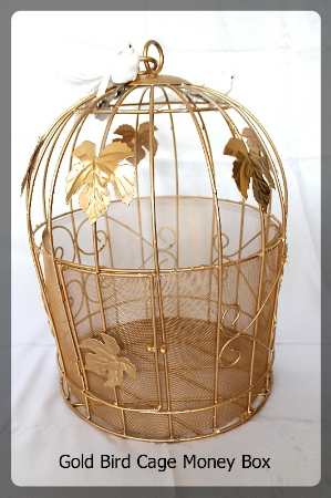 Gold Bird Cage money box