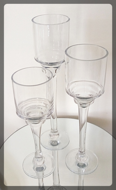 set of 3 stem glass candleholders 12,14 and 16 inch tall