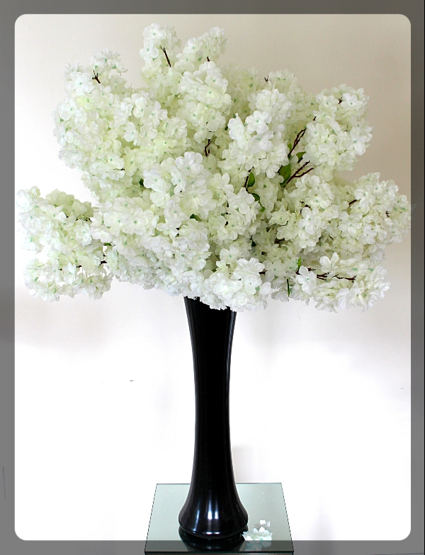 White Cherry Blossom Centerpiece with black vase