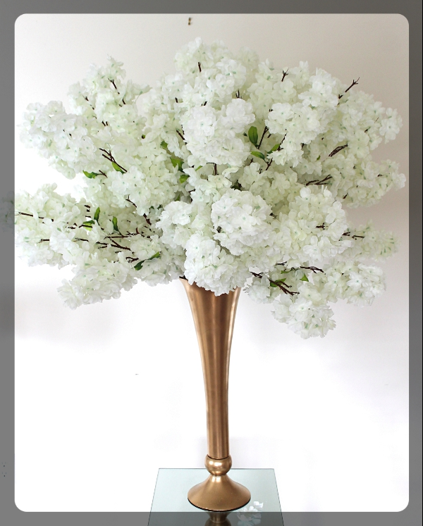 White Cherry Blossom centerpiece with gold Vase