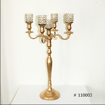 Gold Candelabra with 5 crystal votives 33 inch tall # 110003