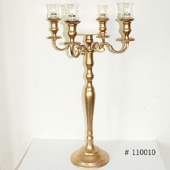 Gold Candelabra with 4 glass votives and plate for florals # 110010