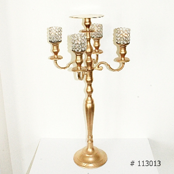 Gold Candelabra with 5 crystal votives and plate for florals 36 inch tall # 113013