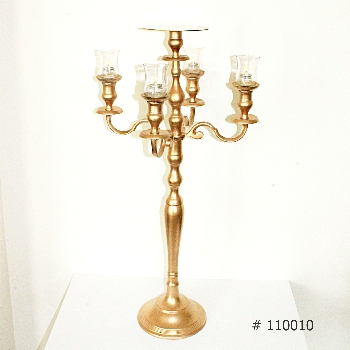 Gold Candelabra with 5 glass votives and plate for florals 36 inch tall # 110010