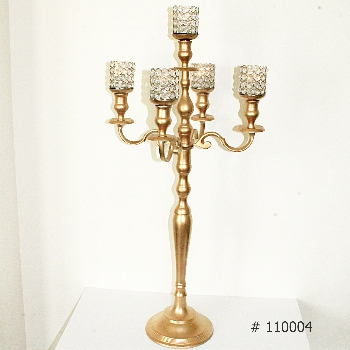 Gold Candelabra with 5 crystal votives 38 inch tall # 110004