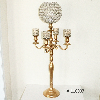 Gold Candelabra 45 inch tall with crystal sphere and 4 crystal votives 45 inch tall #110007