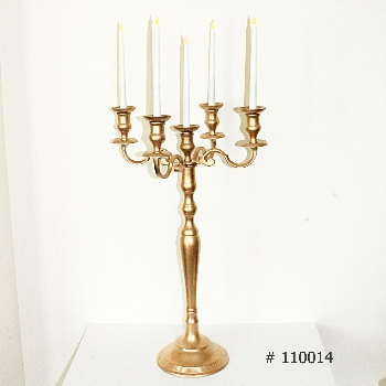 Gold Candelabra with 5 LED taper candles # 110014