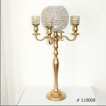 Gold Candelabra with crystal globe, 4 crystal votives 37 inch tall # 110008