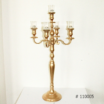 Gold Candelabra 38 inch tall with 5 glass votives # 110005