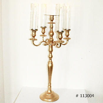 Gold Candelabras 40 inch tall with 4 taper candles and 4 glass coveers with plate for florals # 113004