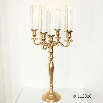 Gold Candelabra 40 inch tall with 5 taper candles and 5 tall glass covers # 113006