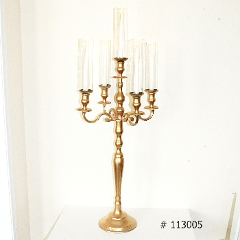 Gold Candelabra 45 inch tall with taper candles and glass covers # 113005
