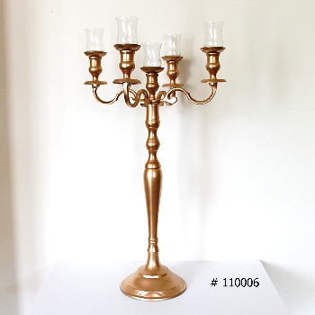 Gold Candelabra with 5 glass votives 33 inch tall # 110006