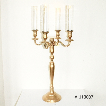 Gold Candelabras 40 inch tall with 4 taper candles and 4 glass coveers with plate for florals # 113007