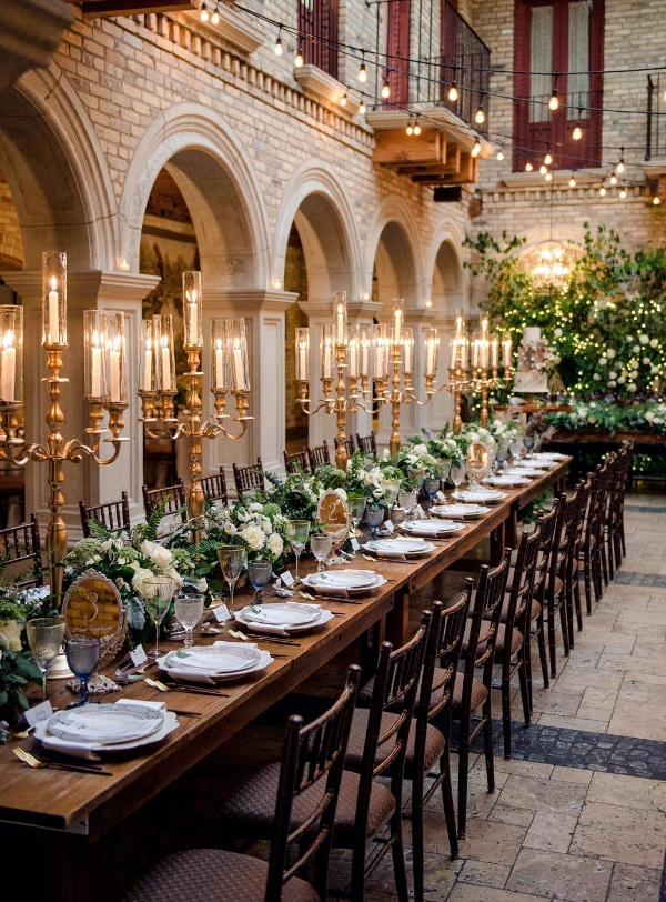 Tall Gold Candelabras with taper candles