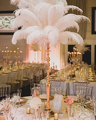 Ostrich Featheer Centerpieces with gold stand