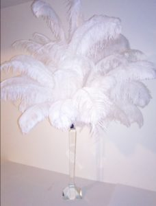 ostrich Feather Centerpiece on a crystal stand total height 55 inch tall