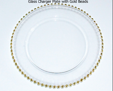 Glass Beaded Gold Charger plates