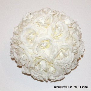 12 inch round flower ball with crystals