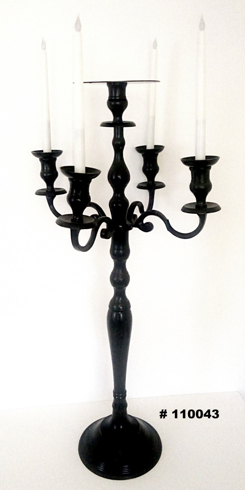 Black Candelabra with 4 LED taper candles and plate for flowers