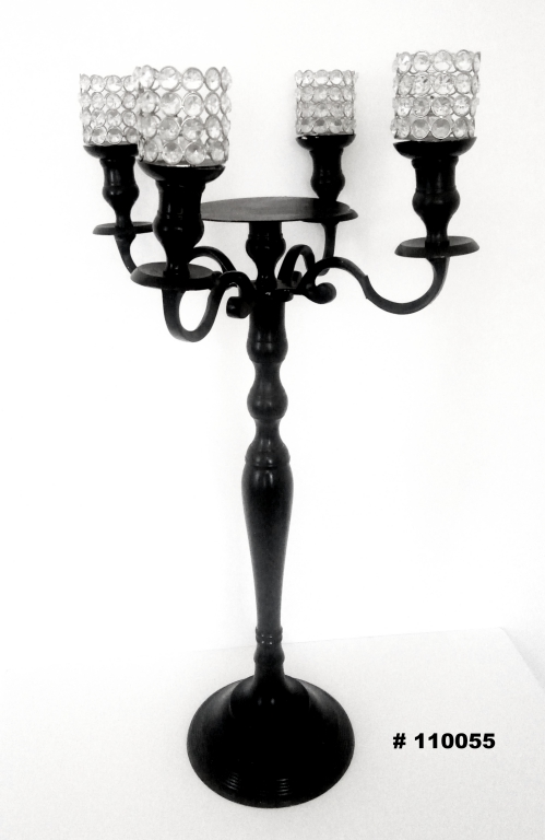 Black Candelabra with 4 crystal votives and plate for florals 33 inch tall
