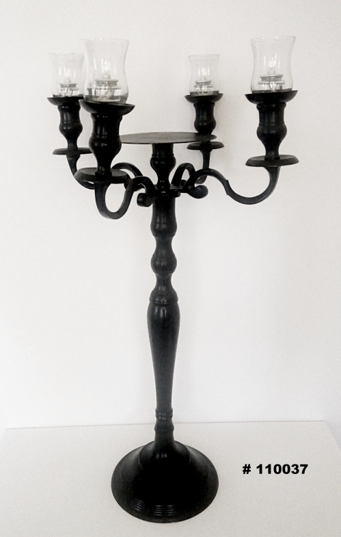 Black Candelabra with glass votives and round plate for florals 33 inch tall