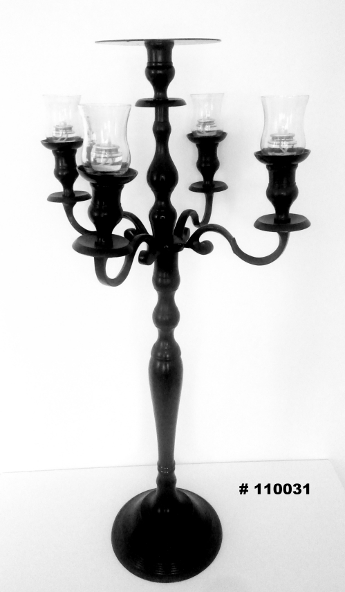 Black Candelabra with 4 glass votives and plate for florals # 110031