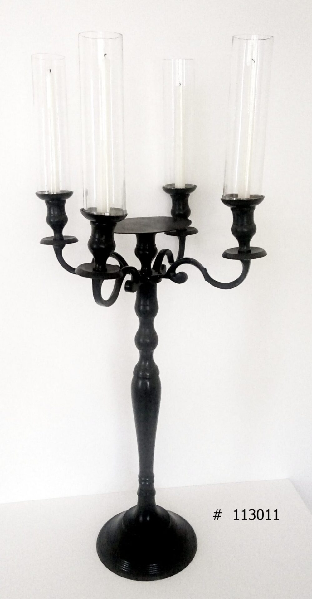 Black Candelabra with 4 taper candles and 4 glass covers with plate for florals # 113011