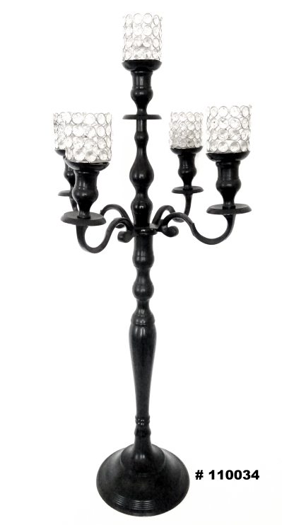 Black Candelabra with crystal votives 40 inch tall
