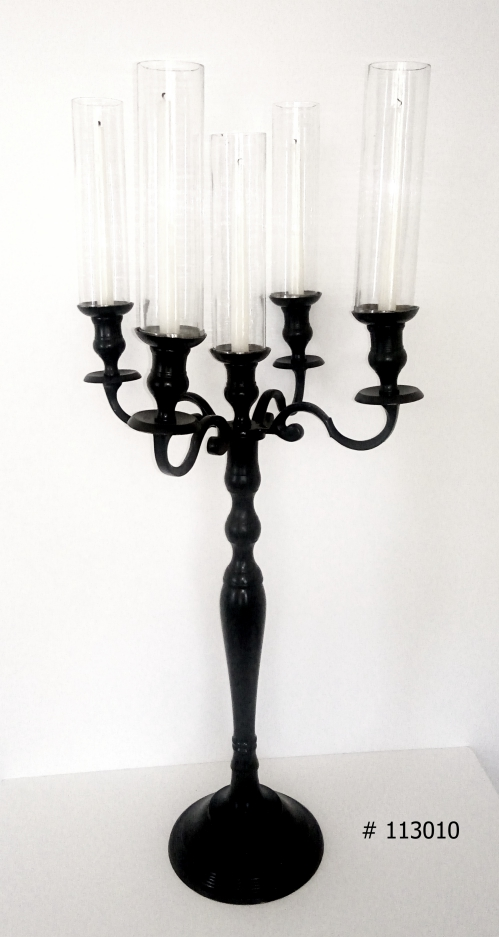 Black Candelabra with 5 taper candles and 5 glass covers 38 inch tall # 113010