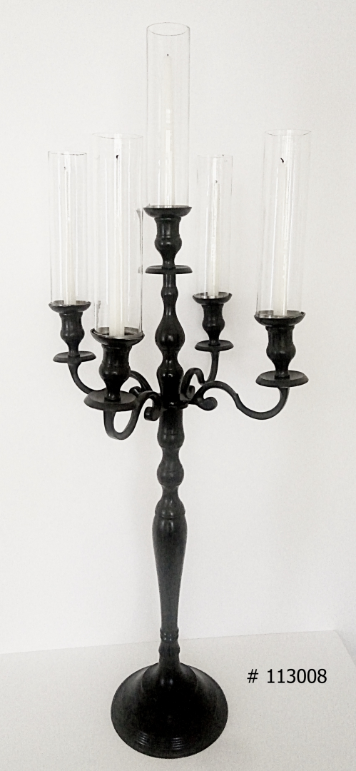 Black Candelabra with 5 taper candles, 5 tall glass covers # 113008