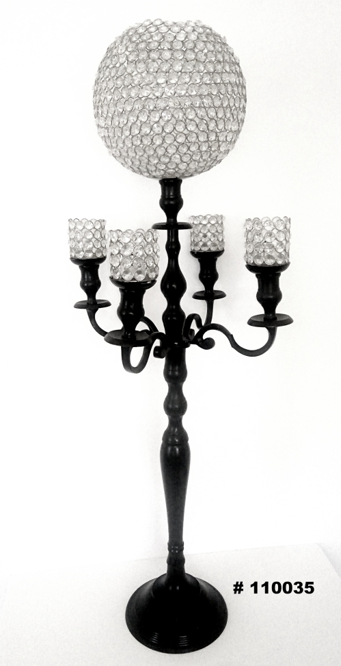 Black Candelabra with Crystal ball and 4 crystal votives