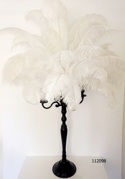 Black Candelabra with white Ostrich Feathers 55 inch tall # 112098