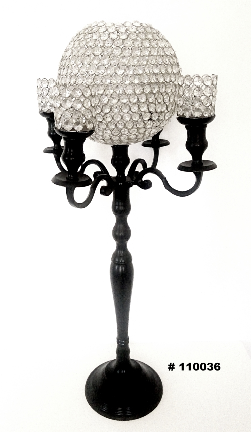 Black Candelabra qith crystal ball and 4 crystal votives 40 inch tall #110036