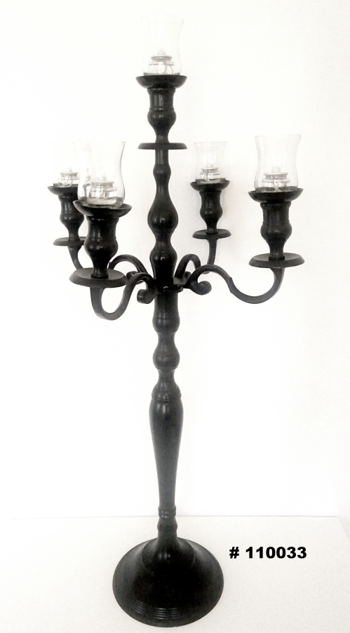 Black Candelabra with 5 glass votives 38 inch tall