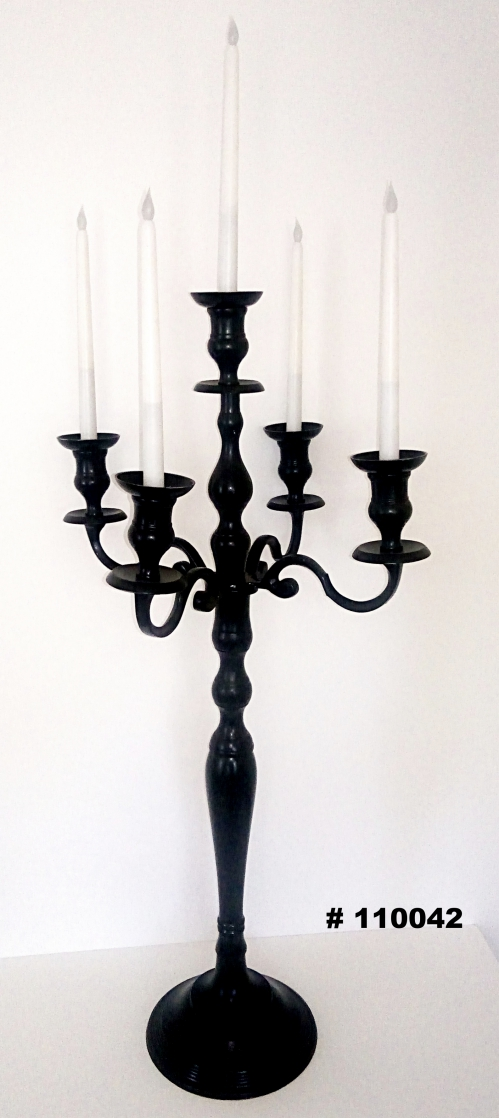 Black candelabra with 5 glass votives 33 inch tall # 110042