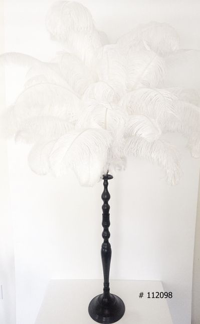 Ostrich Feather Centerpiece with Black Metal stand 60 inch tall # 112098