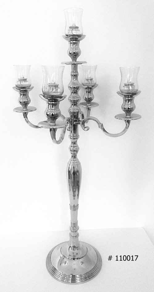 Silver Candelabra with 5 glass votives 38 inch tall #110017