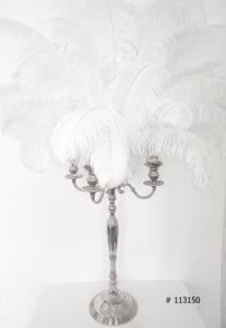 Silver Candelabra with white ostrich feathers 55 inch tall # 113150