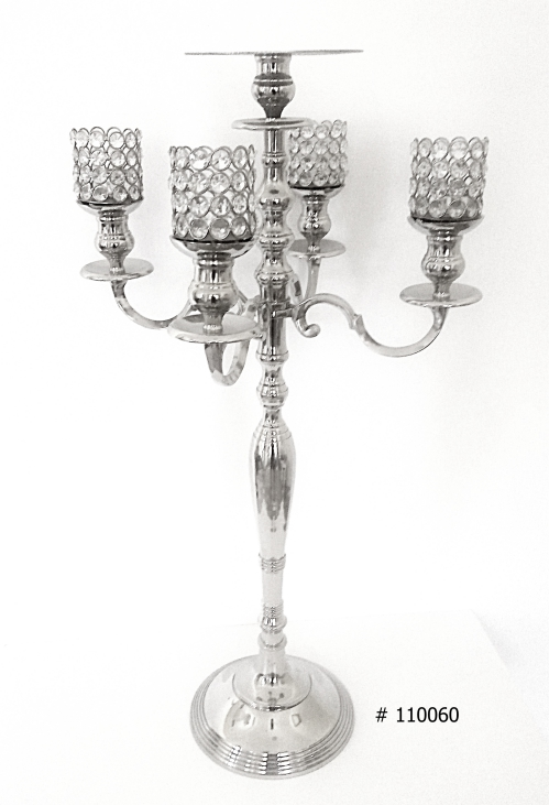 Silver Candelabras with 4 crystal votives and plate for florals