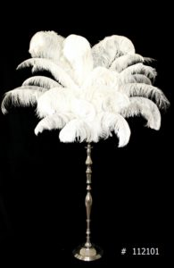 White Ostrich Feather Centerpiece with silver stand 60 inch tall # 112101