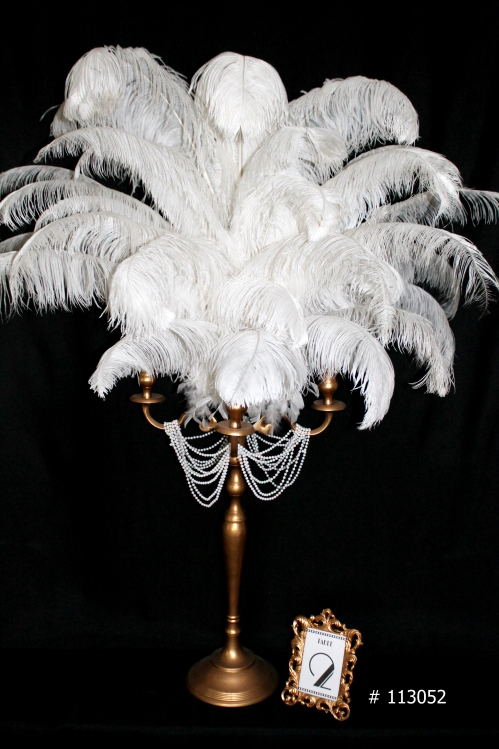 White Ostrich Feather Centerpiece with gold candelabra and white pearls on arms # 113052