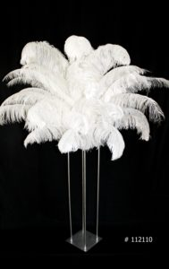 White Ostrich Feather Centerpieces on Harlow stand Silver 58 inch tall # 112110