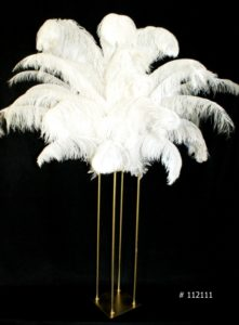 White Ostrich Feather centerpiece with Harlo Gold Stand