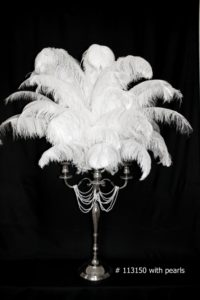White Ostrich Feather centerpiece with silver candelabra and white pearls # 113150