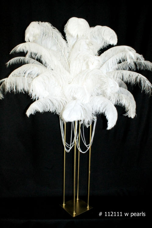 White Ostrich Feathers on Gold harlow stand with pearls 59 inch tall