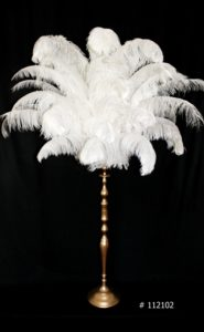 White Ostrich feather Cenbterpiece with gold stand 60 inch tall