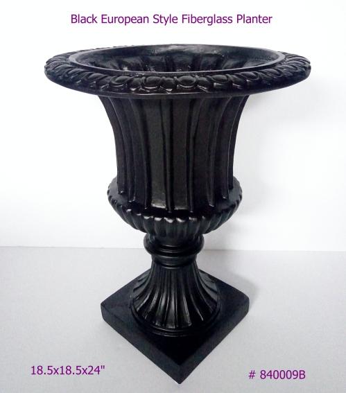 Black Fiberglass Planter European Style