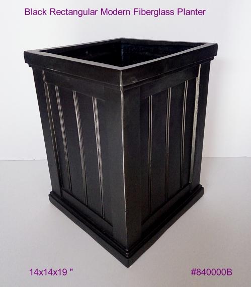 Black Rectangular Modern Fiberglass in Black